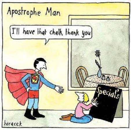 At #Proofessor we're all trained as apostrophe superheros 😂